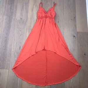Orange high low dress